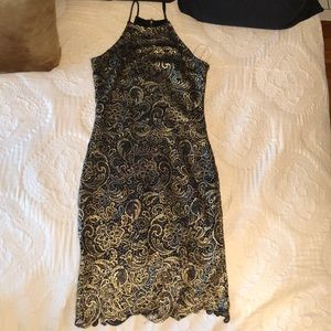 Dresses & Skirts - Black and Gold Lace Dress